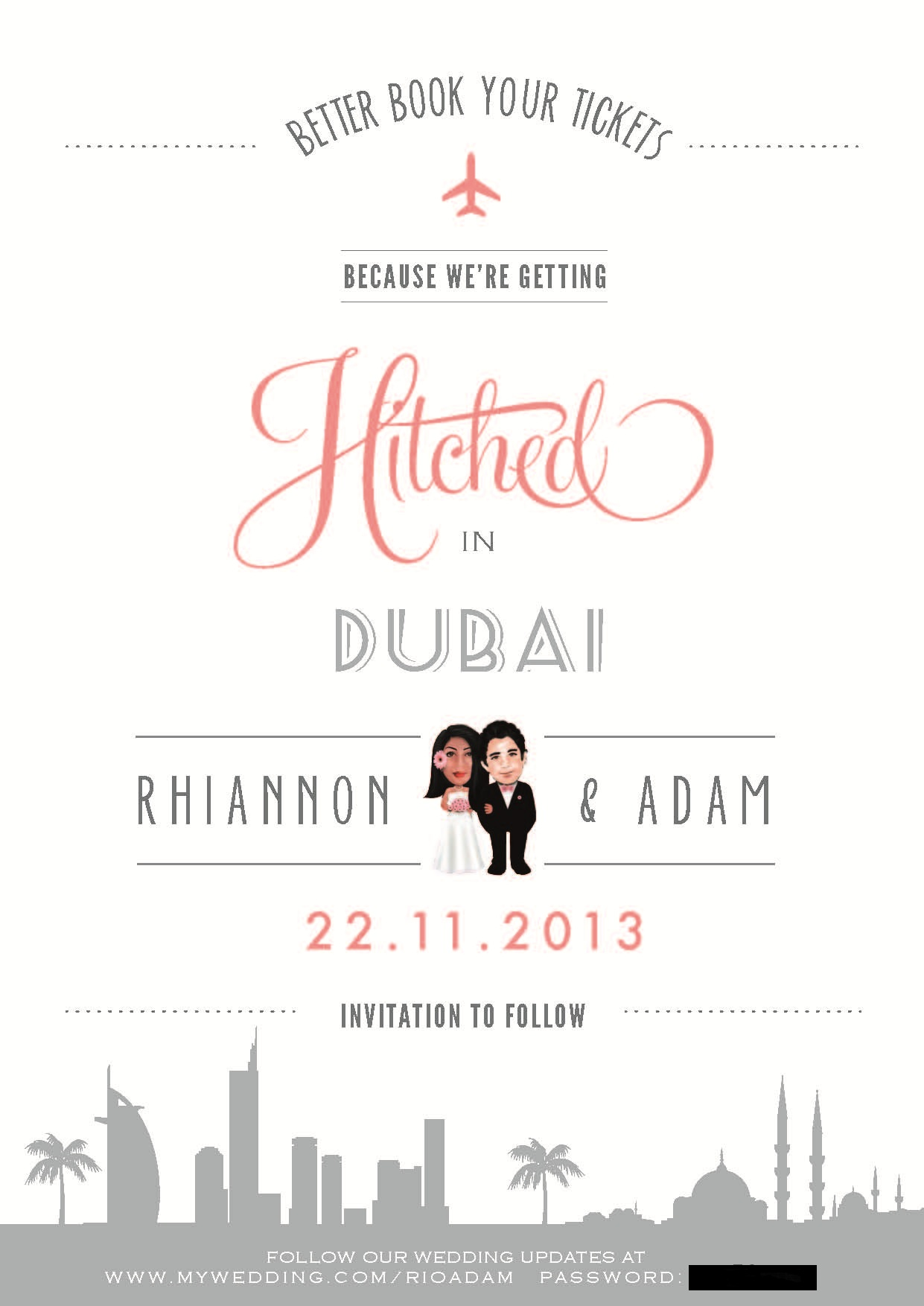 Our SAVE THE DATE Digital style Expat Bride – Email Wedding Save the Date