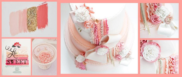 One of Farah's wedding cake colour inspiration boards and the end product, 'Peach sorbet' wedding cake <3